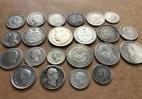 LOT OF 22 COLLECTION OLD SILVER COINS DIFFERENT COUNTRIES