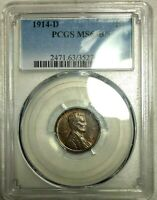 PCGS MS 63 BN 1914 D LINCOLN CENT  PERFECTLY STRUCK LUSTROUS