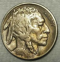 ABOUT UNCIRCULATED 1919 D BUFFALO NICKEL  LIGHTLY TONED SPEC
