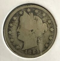 1884 WITH CENTS LIBERTY V NICKEL US COIN - COINAGE 5
