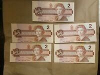 1986 CANADA $2 BILLS EGP CANADIAN THIESSEN CROW 5 CONSECUTIVE BANKNOTES UNC