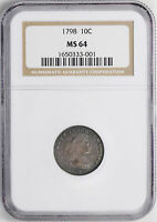 1798 DRAPED BUST 10C NGC MINT STATE 64
