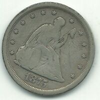 FINE CONDITION 1875 S SAN FRANCISCO MINTED 20 CENT PIECE SIL