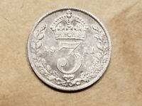 1911 UNITED KINGDOM THREE PENCE SILVER 3 PENNY COIN BRITISH GREAT BRITAIN NICE