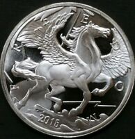 PEGASUS .999 FINE SILVER 1 OZ GOLD SILVER MINT GREEK HORSE ROUND COIN PROOF LIKE