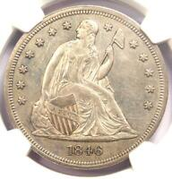 1846 SEATED LIBERTY SILVER DOLLAR $1 - NGC UNCIRCULATED DETAILS UNC MS -