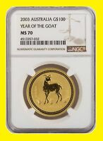 2003 CHINESE LUNAR YEAR OF THE GOAT NGC MS 70 AUSTRALIA 1 OZ