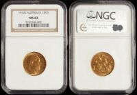 AUSTRALIA 1910S KEVII SOVEREIGN. GOLD. SLABBED NGC MINT STATE 63. MCD CAT CHOICE UNC $850