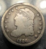 ORIGINAL  GOOD VG 1836 CAPPED BUST SILVER 5C HALF DIME COIN