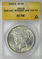 1923 TOP-50 $1 PEACE DOLLAR VAM-1A2 WHISKER JAW ANACS AU58