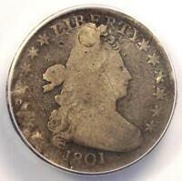 1801 DRAPED BUST DIME 10C - CERTIFIED ANACS VG8 DETAILS -  COIN