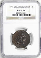 1793 WREATH 1C NGC MINT STATE 64 BN