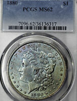1880-P MINT STATE 62 MORGAN SILVER DOLLAR $1, PCGS GRADED, COLORFULLY TONED