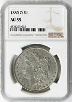 1880-O $1 MORGAN DOLLAR NGC AU55