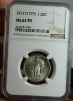 1917-D STANDING LIBERTY QUARTER DOLLAR FULL HEAD 25C NGC MINT STATE 62 FH SILVER COIN