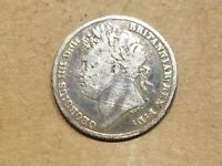 1824GREAT BRITAIN 6 PENCE SILVER COIN BRITISH SIXPENCE UNITED KINGDOM UK VF
