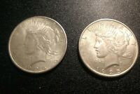 TWO OLD SILVER DOLLARS - 1925, 1925 - PEACE DOLLARS