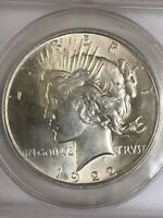 1922 PEACE SILVER DOLLAR  ANACS MINT STATE 62  BEAUTIFUL COIN