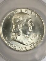 1951-D FRANKLIN HALF DOLLAR COIN  ANACS MINT STATE 64  FBL: FULL BELL LINES CH UNC