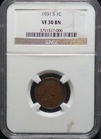 1931 S NGC VF 30 BN LINCOLN WHEAT ONE CENT 1C COIN   KEY DAT