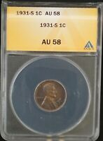 1931 S ANACS AU 58 LINCOLN WHEAT ONE CENT 1C COIN   KEY DATE