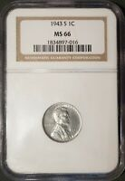 1943 S LINCOLN STEEL CENT WHEAT REVERSE LARGE HOLOGRAM NGC SLAB MS66 1834897 016
