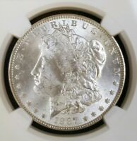 1887 MORGAN SILVER DOLLAR NGC MINT STATE 63 VAM 12A GATOR AND CLASH WHITE COIN