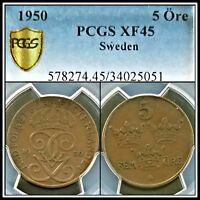 1950 SWEDEN 5 ORE PCGS XF45 LY FINE VINTAGE CLASSIC BRONZE TONED COIN