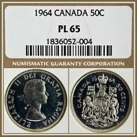 1964 CANADA SILVER 50C HALF DOLLAR NGC PL65 GEM PROOF LIKE 50 CENTS UNC COIN