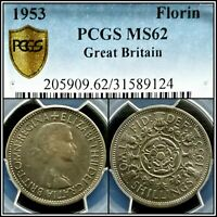 1953 GREAT BRITAIN FLORIN PCGS MS62 UNC QUEEN ELIZABETH TWO SHILLINGS UK COIN