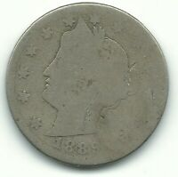 A VINTAGE 1889 LIBERTY HEAD V NICKEL COIN-OLD US COIN-AGT212