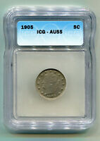 1905 LIBERTY NICKEL ICG AU55 CHOICE ABOUT UNCIRCULATED CH. AU  ORIGINAL COIN