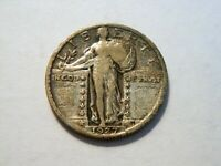 1927-P VF TONED SILVER STANDING LIBERTY QUARTER,  VINTAGE COIN TO COLLECT