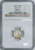 1829 NGC MINT STATE 65 PQ BUST HALF DIME,   PIECE, TOP OF GRADE REGISTRY QUALITY