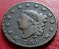 1833 MATRON CORONET HEAD LARGE CENT COIN BIG OLD US 1C PENNY