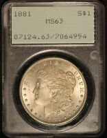1881 UNITED STATES MORGAN SILVER DOLLAR PCGS MINT STATE 63 - SHIPS FREE USA