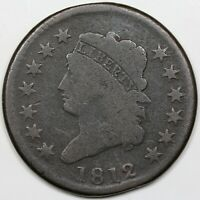 1812 CLASSIC HEAD LARGE CENT LARGE DATE G VG DETAIL