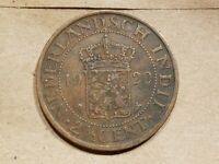 1920 NETHERLANDS EAST INDIES 2 1/2 CENT COIN DUTCH EAST INDIES COPPER INDONESIA