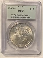 1898 O OGH PCGS MINT STATE 64 MORGAN SILVER DOLLAR MINT STATE 64 OLD GREEN HOLDER MS