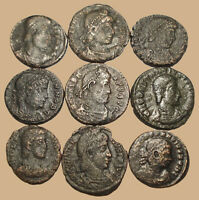 LOT OF 9 3 4 ANCIENT ROMAN BRONZE COINS FROM IV. CENTURY