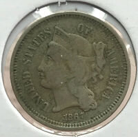 1867   THREE CENT PIECE   NICKEL CENT 3 US COIN   COINAGE AE