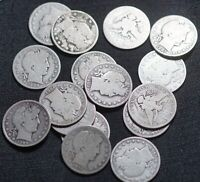 LOT OF 16 BARBER SILVER HALF DOLLAR 50C COINS   DIFFERENT DA
