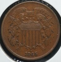 1865 TWO CENTS 2C COIN