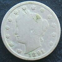 1891 LIBERTY V NICKEL CIRCULATED - BETTER DATE