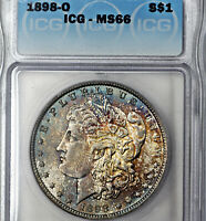 1898-O MINT STATE 66 MORGAN SILVER DOLLAR $1, ICG GRADED, DEEPLY TONED