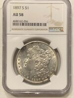 1897 S MORGAN SILVER DOLLAR NGC AU58 ALMOST UNCIRCULATED SILVER DOLLAR