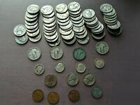 LARGE LOT OF US COINS   MOST SILVER AND RARE QUARTERS DIMES