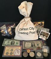 GRAB BAG OF US COINS AND PAPER MONEY