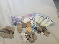 HUGE LOT OF CANADA COINS & BANK NOTES $98 DOLLARS  LEFT OVER