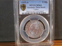 1933 A 5 MK LUTHER PCGS 61 BRIGHT WHITE WITH PLEASING EYE AP